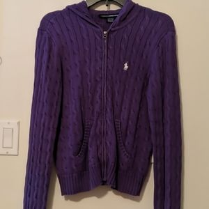 Ralph Lauren zip front purple cotton hooded sweate